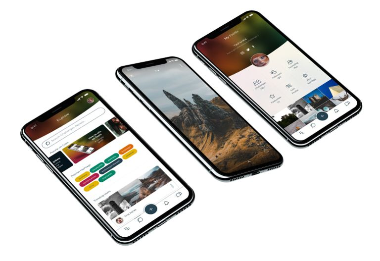 Several preview shots of mobile phones running the Tupix App
